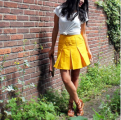 white and yellow outfit