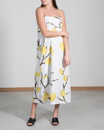 CAPRI-DRESS-Lemon-Midi-front