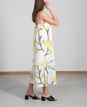 CAPRI-DRESS-Lemon-Midi-side